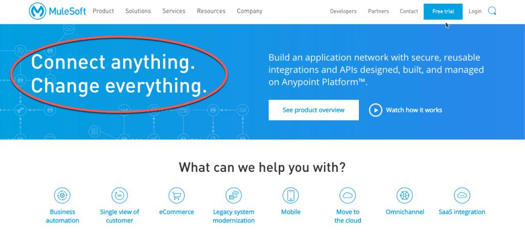 Homepage della piattaforma Mulesoft