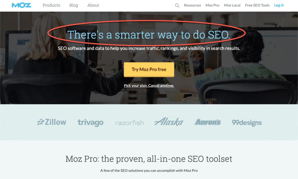 Homepage della agenzia SEO Moz
