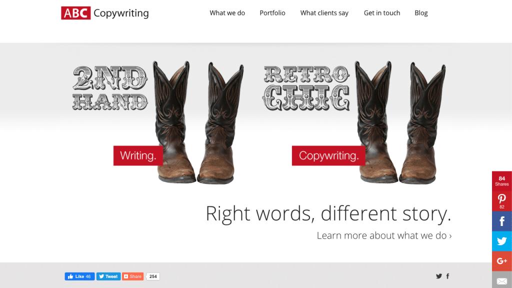 Homepage della agenzia ABC Copywriting