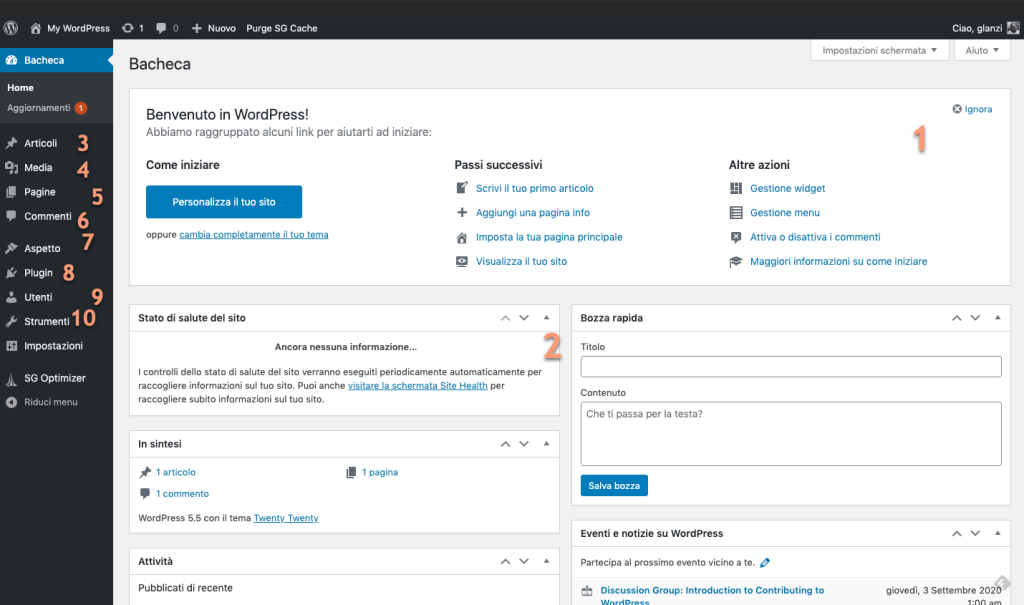 WordPress - Dashboard overview