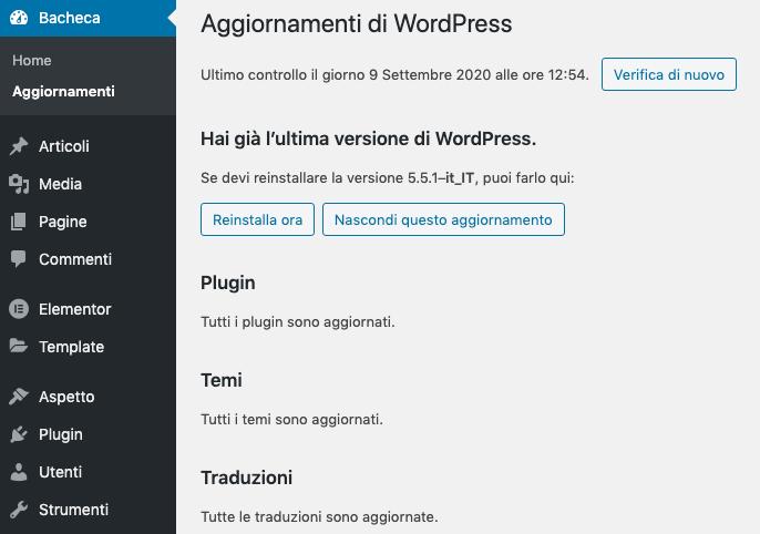 Ottimizzare WordPress con gli aggiornamenti
