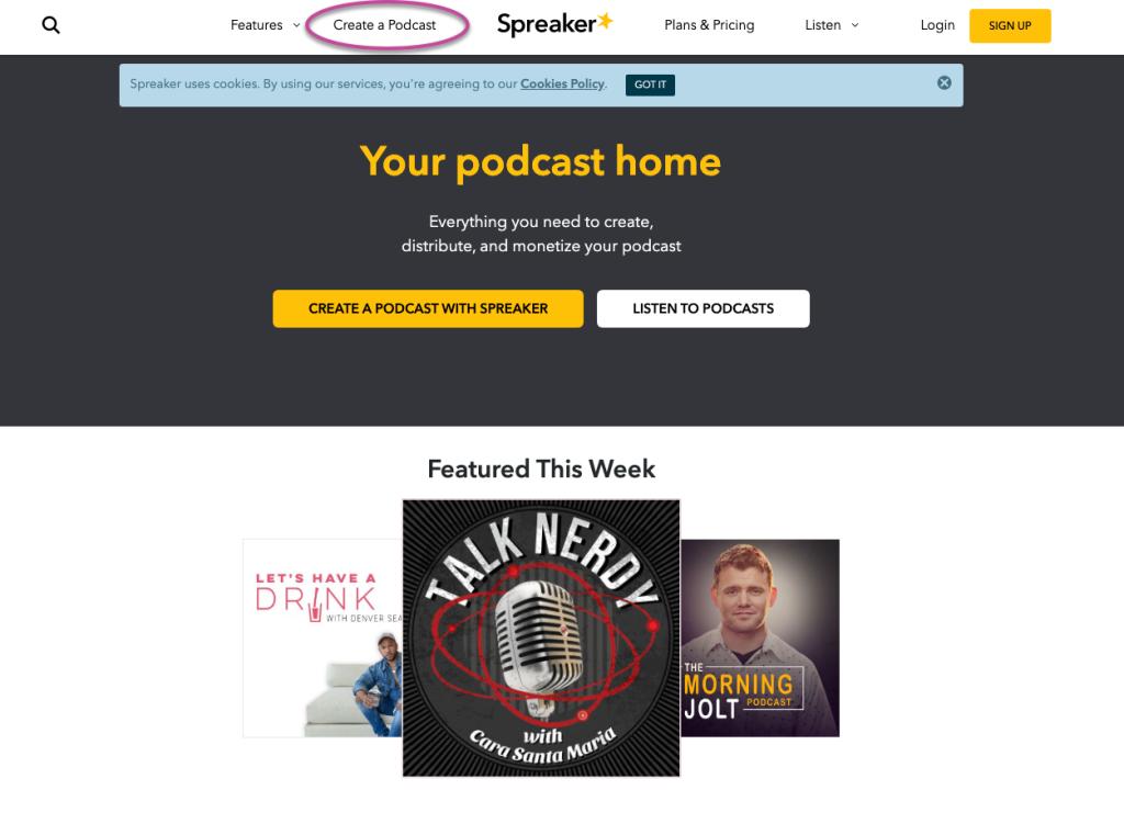 Home Page di Spreaker