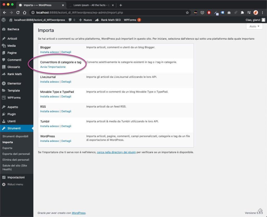 categorie wordpress Convertitore Categorie 2