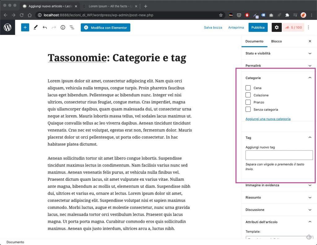 Tassonomie WordPress aggiunta