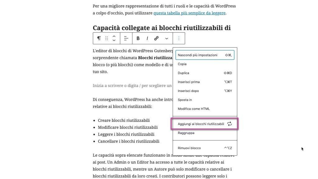 ruoli wordpress Blocchi riutilizzabili gutenberg