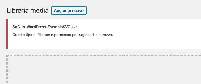 Tipico errore di caricamento SVG in WordPress