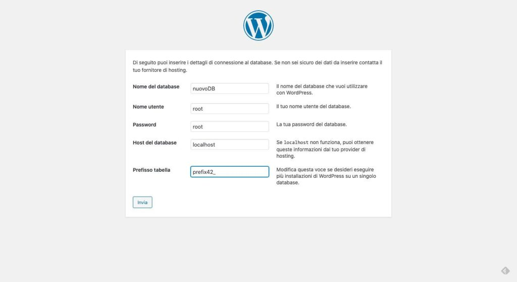 Installazione WordPress - il database
