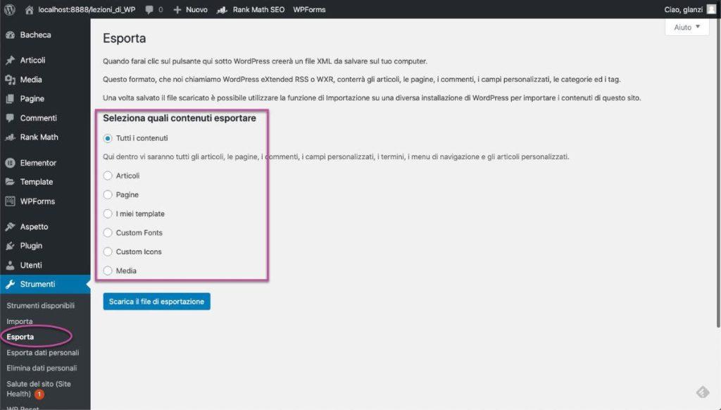 Esportare articoli WordPress metodo Export