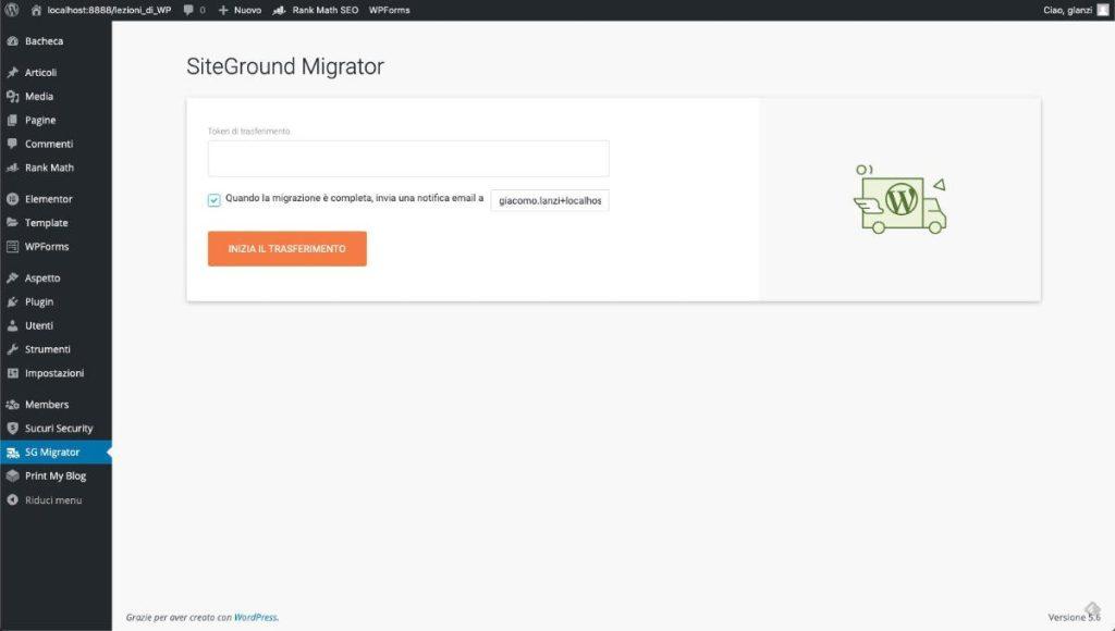 Migrazione tramite Siteground migrator
