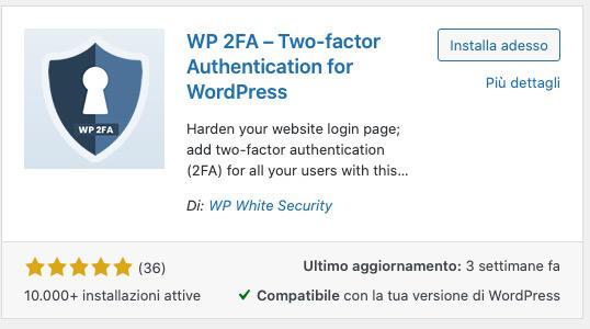 autenticazione a due fattori plugin