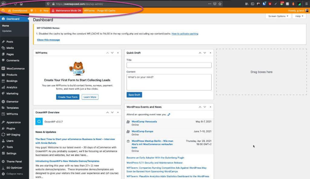staging in wordpress barra arancione del sito staging