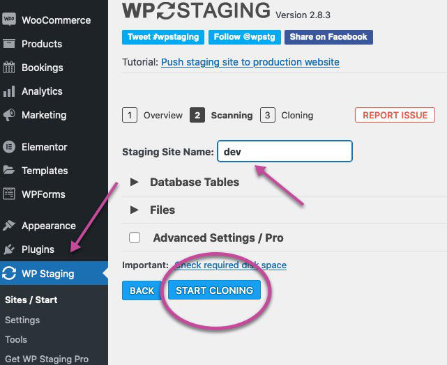Staging in WordPress create staging