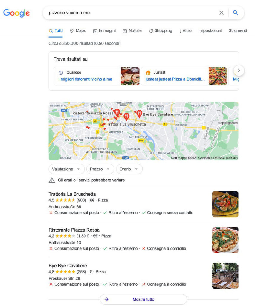 local seo pizzerie 3 pack